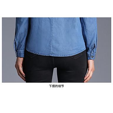 スポット本物のショット - 新しいヨーロッパの脚のレースのシャツの襟シングルブレスト長袖デニムシャツ