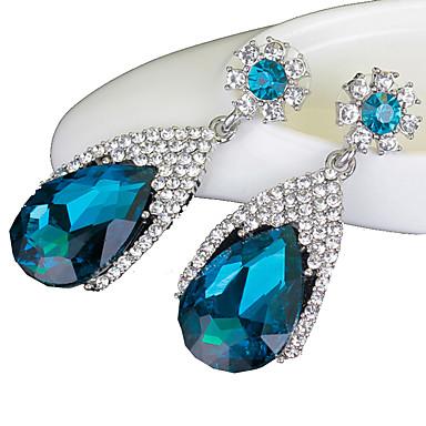 للمرأة الاصطناعية الياقوت أقراط قطرة - كريستال, تقليد الماس قطرة ترف أزرق البحرية من أجل زفاف حزب يوميا