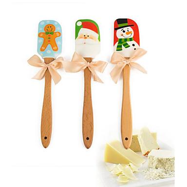 Bakeware-työkalut Silikoni / Puu Loma / Christmas Kakku Leivonta & Leivonnaiset Spatulas 1kpl