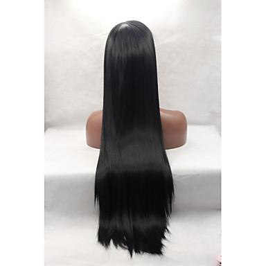 Peluca Lace Front Sintéticas Recto Pelo sintético Entradas Naturales Negro Peluca Mujer Encaje Frontal