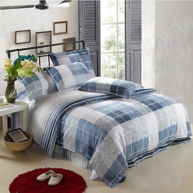 a carreaux ensembles housse de couette 4 pi ces coton moderne imprim coton lit 2 places 39 queen. Black Bedroom Furniture Sets. Home Design Ideas