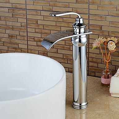 コンテンポラリー センターセット 滝状吐水タイプ セラミックバルブ シングルハンドルつの穴 クロム , 浴槽用水栓