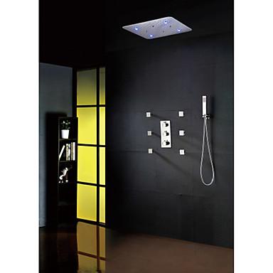 Nykyaikainen Sadesuihku Laajallle ulottuva Mukana käsisuihku Termostaatti LED Messinkiventtiili Kolme kahvat yhdeksän reikää Kromi ,