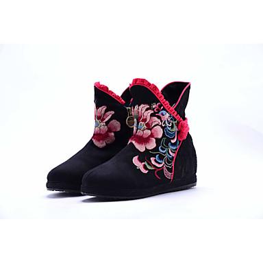 Naiset Kengät Canvas Kevät Syksy Comfort Muotisaappaat Brodeerattu kengät Bootsit Kävely Matala korko Pyöreä kärkinen Satiinikukilla