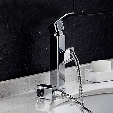 バスルームのシンクの蛇口 - レインシャワー クロム センターセット シングルハンドルつの穴 / 真鍮