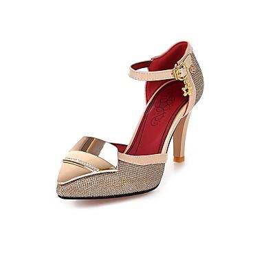 Mulheres Sapatos Materiais Customizados Primavera / Verão Conforto / Tira no Tornozelo Saltos Caminhada Salto Agulha Dedo Apontado