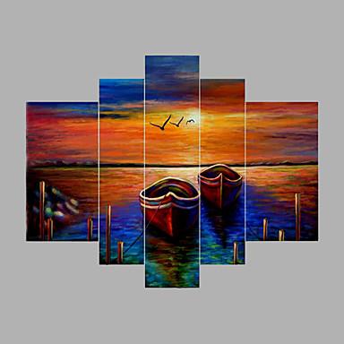 Maalattu Abstrakti Horizontal, Moderni Kangas Hang-Painted öljymaalaus Kodinsisustus 5 paneeli