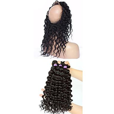 baratos Extensões de Cabelo Natural-4 pacotes Cabelo Mongol 360 Frontal Onda Profunda 10A Cabelo Virgem Trama do cabelo com Encerramento Tramas de cabelo humano 8a Extensões de cabelo humano