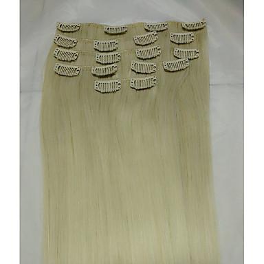 ストレート Clip In 人間の髪の拡張機能 8本/パック ブリーチブロンド 15