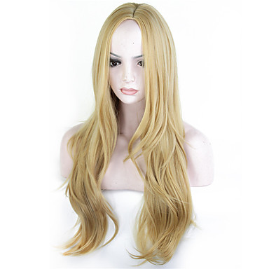 Synthetic Wig Wavy Synthetic Hair Blonde Wig Women's Long Capless