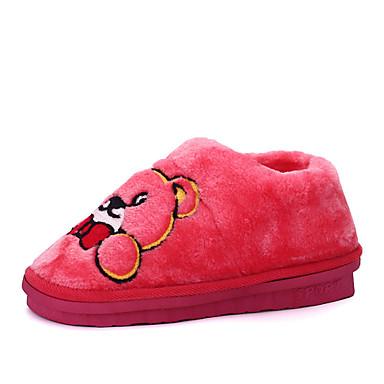 Damen-Slippers & Flip-Flops-Lässig-Pelz-Flacher Absatz-Komfort-Rosa Lila Rot Dunkelrot