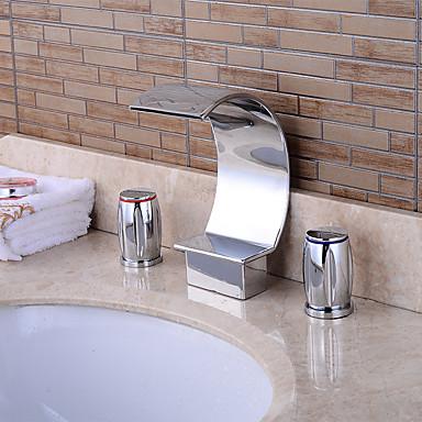 Moderne 3-Loch-Armatur Wasserfall Keramisches Ventil Zwei Griffe Drei Löcher Chrom , Badewannenarmaturen