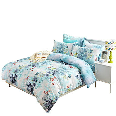 Bettbezug-Sets Neuheit 4 Stück Baumwolle Reaktivdruck Baumwolle 4-teilig (1 Bettbezug, 1 Bettlaken, 2 Kissenbezüge)
