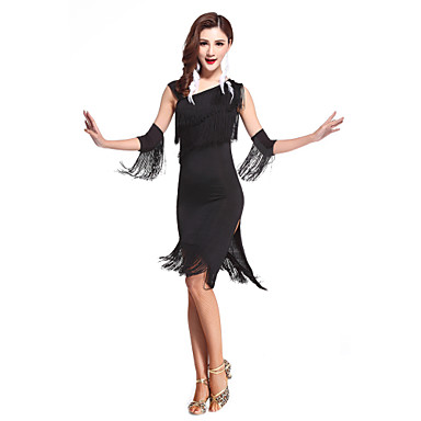 Latein-Tanz Kleider Damen Leistung Elasthan Quaste Ärmellos Hoch Kleid