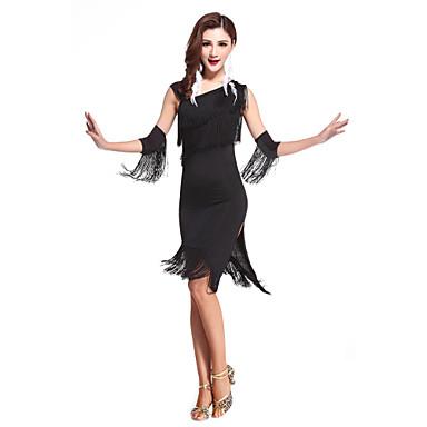 Baile Latino Vestidos Mujer Rendimiento Licra Borla Sin Mangas Cintura Alta Vestido / Danza Latina