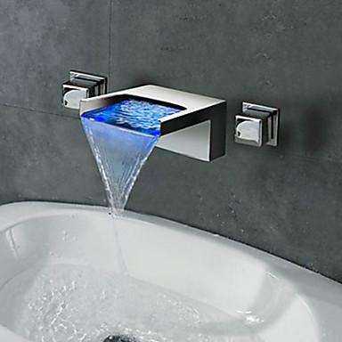 Baderom Sink Tappekran - Foss / LED Krom Vægmonteret To Håndtak tre hullBath Taps