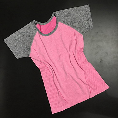 Damen Kurze Ärmel Laufen Sweatshirt Atmungsaktiv Rasche Trocknung Schweißableitend Frühling Sommer Herbst SportbekleidungYoga Übung &