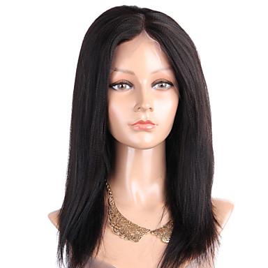 人毛 フルレース かつら ストレート ヤキ 130% 密度 100%手作業縫い付け ブラックアメリカン風ウィッグ ナチュラルヘアライン ショート ミディアム ロング 女性用 人毛レースウィッグ