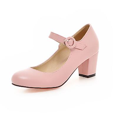 Damen Schuhe Kunstleder Frühling Sommer Herbst High Heels Blockabsatz Runde Zehe Schnalle für Normal Kleid Weiß Schwarz Beige Rosa