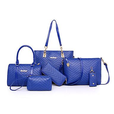 Naisten Kassit PU Bag setit 6 kpl kukkaro setti varten Kausaliteetti Kaikki vuodenajat Musta Fuksia Pinkki Kultainen Laivastosininen