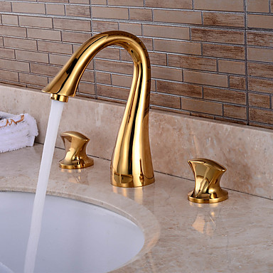 バスルームのシンクの蛇口 - 組み合わせ式 Ti-PVD 組み合わせ式 二つのハンドル三穴 / 真鍮