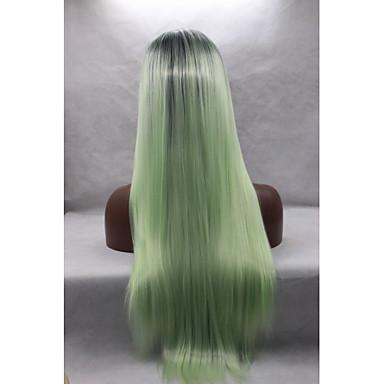 Naisten Synteettiset peruukit Lace Front Suora Vihreä Luonnollinen hiusviiva Luonnollinen peruukki Halloween Peruukki Carnival Peruukki