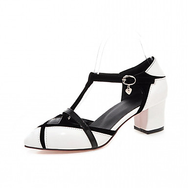 Damen-High Heels-Büro Kleid Lässig-Kunstleder-Blockabsatz Block Ferse-Komfort-Weiß Schwarz Rot