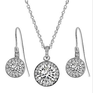 Dame Syntetisk Diamant Smykkesett Smykke Sett - Zirkonium, Kubisk Zirkonium Hvit