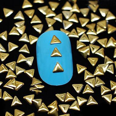 100PCS 3MM*3MM Golden Triangle Metal Rivet Nail Art Decoration