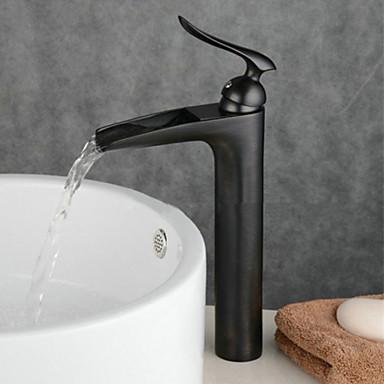 Waschbecken Wasserhahn - Wasserfall Öl-riebe Bronze deckenmontiert Einhand Ein Loch