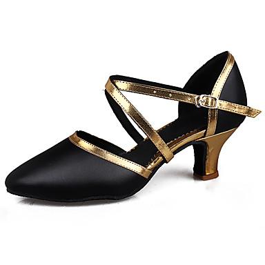 Mujer Zapatos de Baile Latino / Zapatos de Salsa Cuero Patentado / Semicuero Sandalia / Tacones Alto Hebilla Tacón Cubano Personalizables