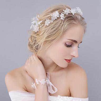 Tule / Cristal / Imitação de Pérola Tiaras / Headbands / Flores com 1 Casamento / Ocasião Especial Capacete