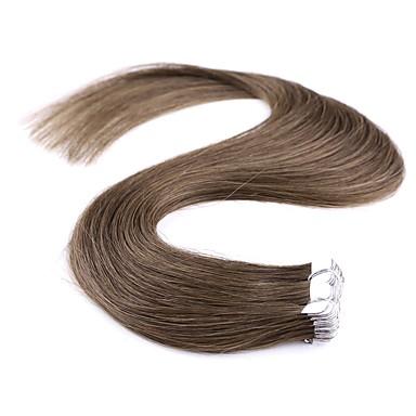 Neitsi Com Adesivo Extensões de cabelo humano Liso Extensões de Cabelo Natural Cabelo Humano Mulheres - Marrom Escuro Ash Brown Marrom Médio