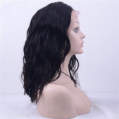 Echthaar Vollspitze Perücke Natürlich gewellt 130% Dichte 100 % von Hand geknüpft Afro-amerikanische Perücke Natürlicher Haaransatz Kurz
