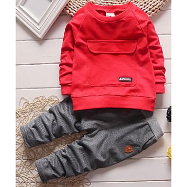 ieftine Seturi Îmbrăcăminte Băieți-Copil Băieți Zilnic Mată Manșon Lung Lung Bumbac Set Îmbrăcăminte Gri