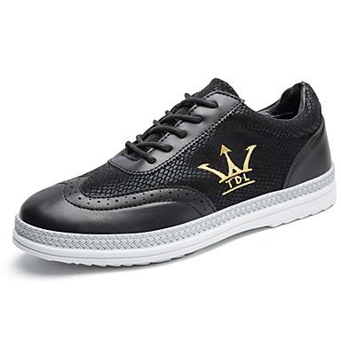 Herren-Sneaker-Lässig-PU-Flacher Absatz-Komfort-Schwarz Blau Braun