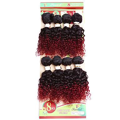 baratos Extensões de Cabelo Natural-Âmbar Encaracolado Weave Curly Cabelo Sintético Cabelo Humano 8 polegada Alongamento Loiro Ruivo 1 Peça Mulheres