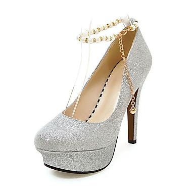 Damen Schuhe Glanz Frühling Sommer Herbst High Heels Stöckelabsatz Runde Zehe Perle Paillette Kette für Hochzeit Normal Party & Festivität