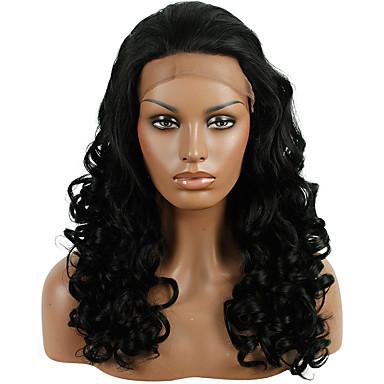 Synteettiset pitsireunan peruukit Löysät aaltoilevat Synteettiset hiukset Luonnollinen hiusviiva Musta Peruukki Naisten Lace Front