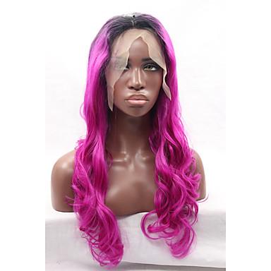 Synteettiset pitsireunan peruukit Runsaat laineet Violetti Naisten Lace Front Luonnollinen peruukki Synteettiset hiukset