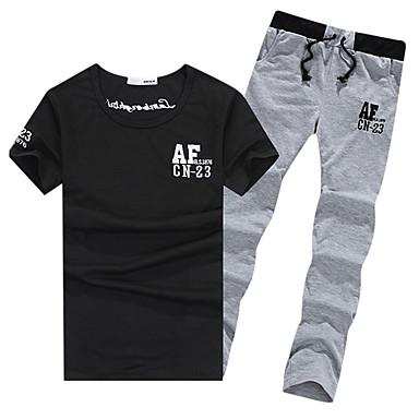 Heren Hardloopshirt met broek Korte mouw Ademend Pakken voor Training&Fitness Recreatiesport Badminton Fietsen/Fietsen Hardlopen Polyester