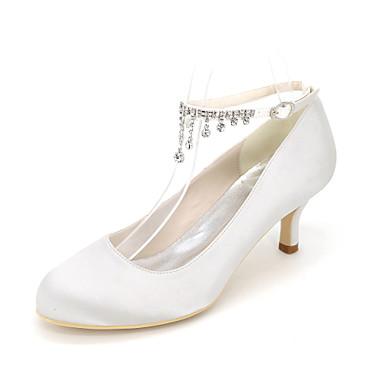女性用 靴 シルク 春 夏 ヒール スティレットヒール ラウンドトウ ラインストーン のために 結婚式 パーティー レッド ブルー ピンク ライトブラウン クリスタル