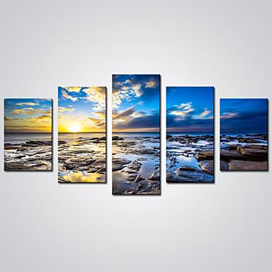 Trykk Valset lerretskunst - Landskap / fritid Realisme / Moderne Fem Paneler