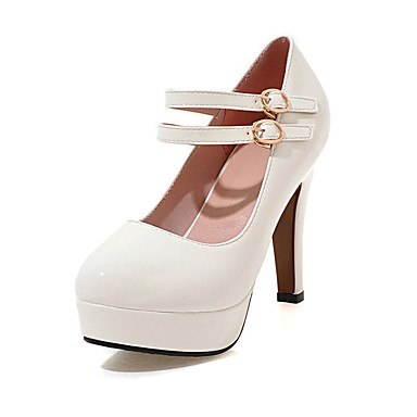 Damen Schuhe Lackleder Frühling Sommer Herbst High Heels Stöckelabsatz Runde Zehe für Normal Party & Festivität Weiß Schwarz Beige Rot