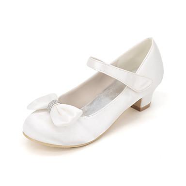 Chica Zapatos Seda Primavera verano Zapatos para niña florista Tacones Pajarita para Rosa / Champaña / Marfil / Boda / Fiesta y Noche