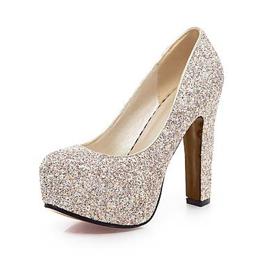 Damen Schuhe Glanz Frühling Sommer High Heels Blockabsatz Runde Zehe Paillette für Hochzeit Büro & Karriere Party & Festivität Gold Weiß