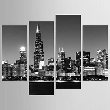 Famoso Paisaje Estilo Modern, Cuatro Paneles Lona cualquier Forma Estampado Decoración de pared Decoración hogareña
