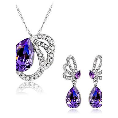 Mulheres Amethyst Sintético Cristal Conjunto de jóias - Cristal Austríaco Borboleta, Animal senhoras Incluir Roxo Para Casamento Festa Diário