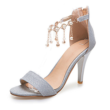 Damen Schuhe Lackleder Glanz Frühling Sommer Herbst Sandalen Stöckelabsatz Peep Toe Strass Perlenstickerei Quaste Kette für Hochzeit
