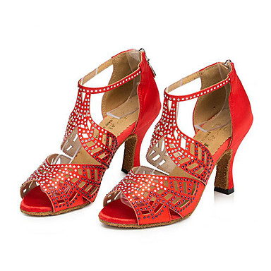للمرأة أحذية رقص / بوط رقص / أحذية عصرية جلد سينكرز حجر كريم كعب متوسط مخصص أحذية الرقص أسود / أحمر / اللوز / تمرين
